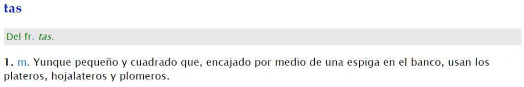 Tas definición diccionario real academia española DRAE